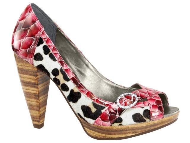 Peep Toe Feminino Tanara 9461 Vermelho/leopardo