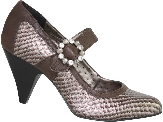 Sapato Feminino Tanara 1043 Bronze Chocolate
