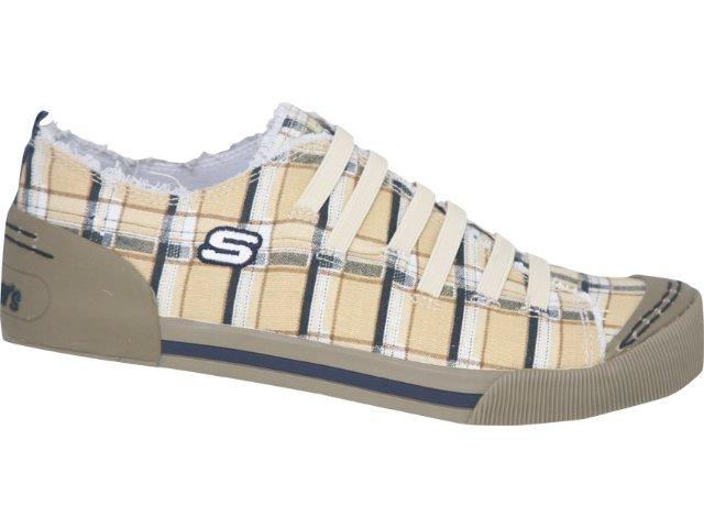 Tênis Feminino Skechers 36665 Xadrez Bege