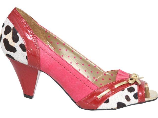Peep Toe Feminino Tanara 9345 Vermelho/leopardo