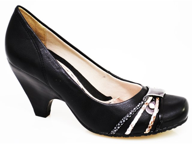 Sapato Feminino Ramarim 1046202 Preto/prata Velha