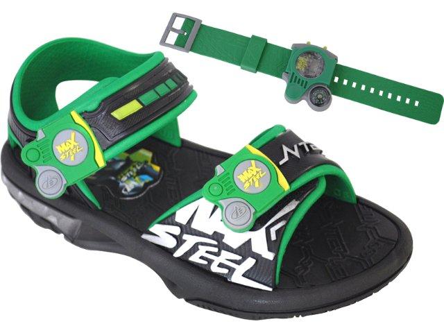 Sandália Masc Infantil Grendene Max Steel 20770 Preto/verde