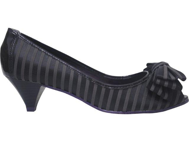 Sapato Feminino Cravo e Canela 64308 6761 Listrado Preto