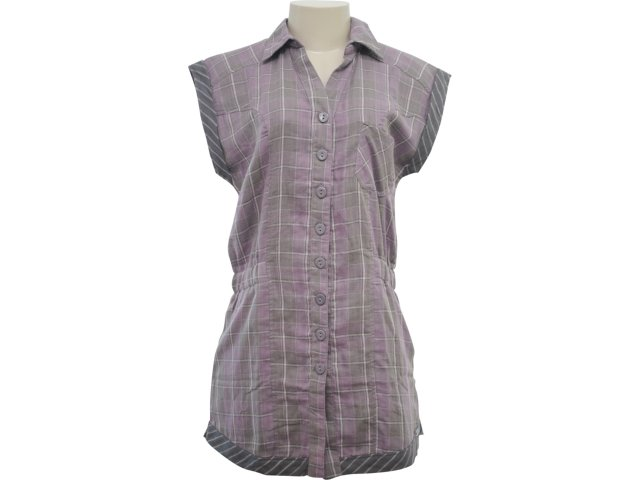 Camisa Feminina Hering Kk08 1asi Cinza Xadrez