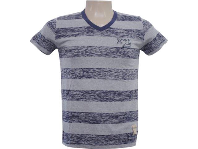 Camiseta Masculina Hering 4c3c 1c10s Listrado Marinho