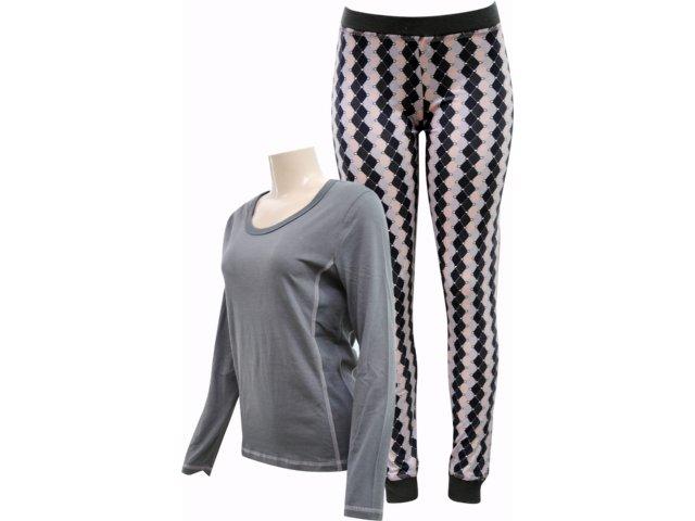 Pijama ml Feminino Hering 7600 Njm07s Grafite
