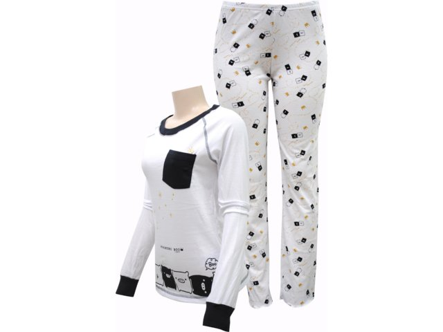 Pijama ml Feminino Hering 76zf Noa10s Branco