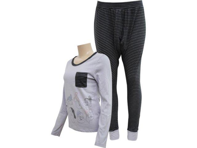 Pijama ml Feminino Hering 7690 Nlk10 Grafite