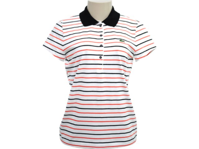 T-shirt Feminino Lacoste df 296621 Listrado Branco