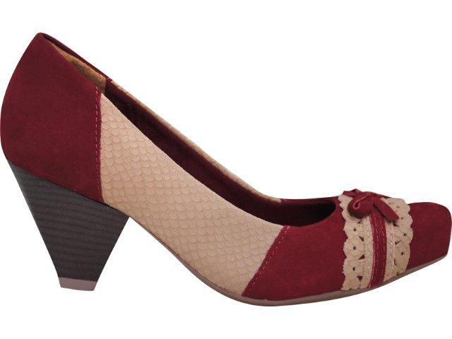 Sapato Feminino Via Marte 11-5701 Vermelho/bege