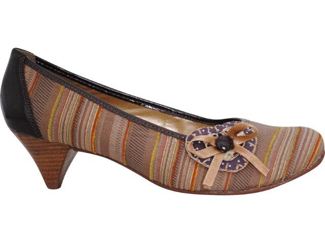 Sapato Feminino Cravo e Canela Cravo & Canela 57901/5978 Listrado Marrom