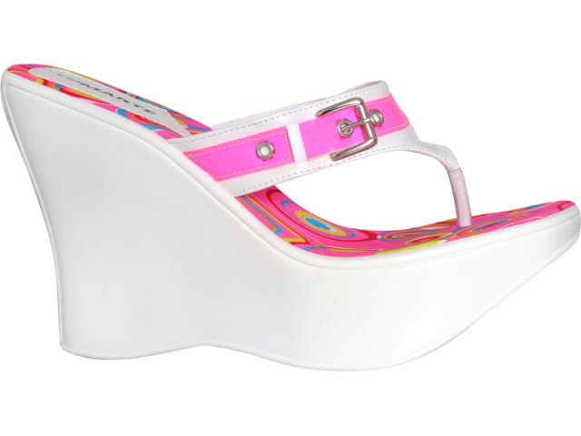 Tamanco Feminino Via Marte 04-10801 Branco/pink
