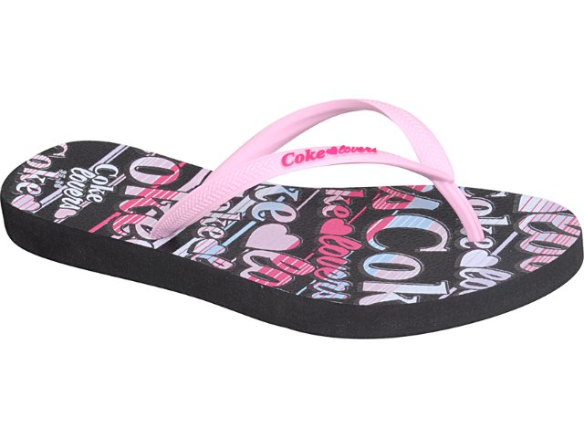 Chinelo Feminino Coca-cola Shoes Cc1260001 Preto/rosa