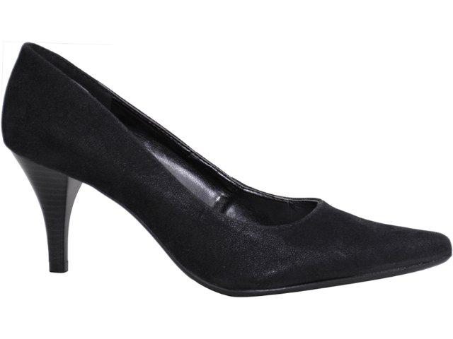 Sapato Feminino Via Marte Scarpin 10-5605 Nobuck Preto
