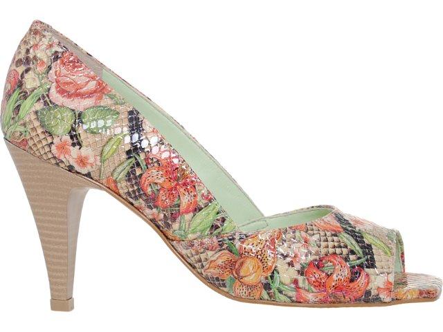 Peep Toe Feminino Faby 4008 Floral