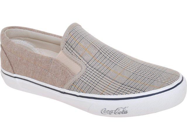 Tênis Masculino Coca-cola Shoes Cc0870007 Taupe Xadrez