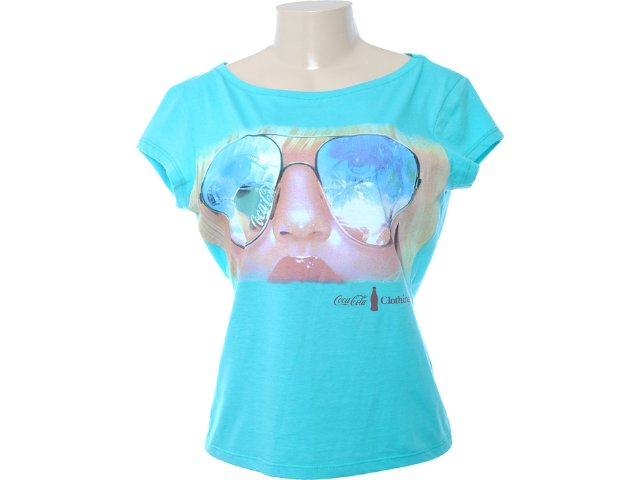 Camiseta Feminina Coca-cola Clothing 343200432 Celeste