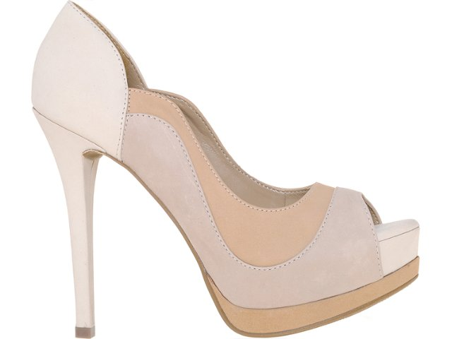 Peep Toe Feminino Via Marte 12-3101 Off White