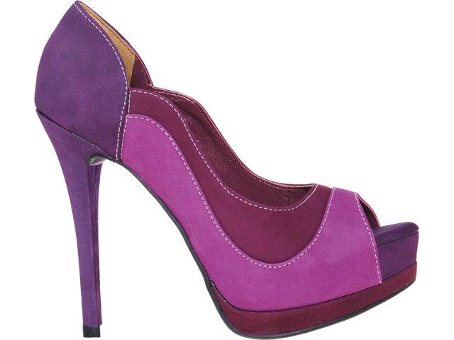Peep Toe Feminino Via Marte 12-3101 Bordo/violeta/uva
