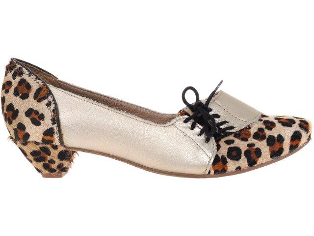 Sapato Feminino Tanara 2966 Ouro/onca