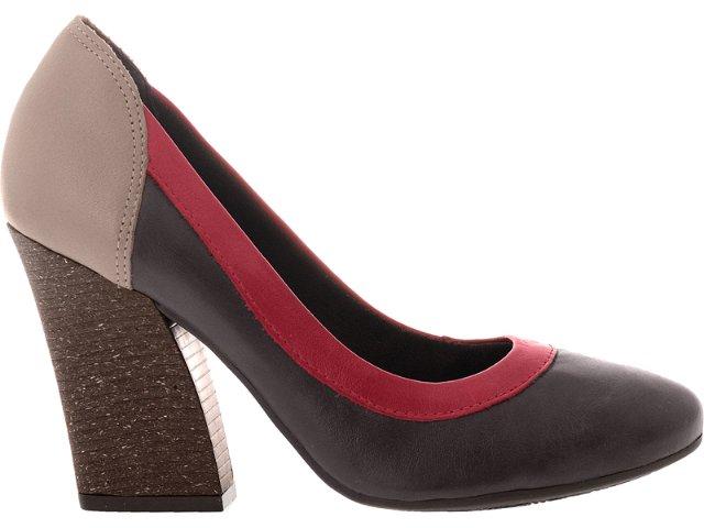 Sapato Feminino Dakota 4361 Café/vermelho