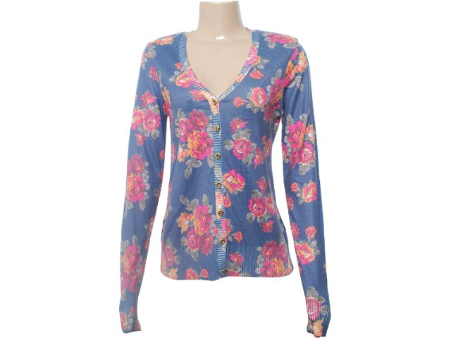 Cardigan Feminino Dopping 014402001 Floral Marinho