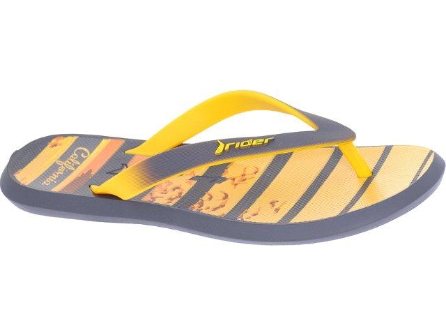 Chinelo Masculino Grendene Rider 10719 Cinza/amarelo
