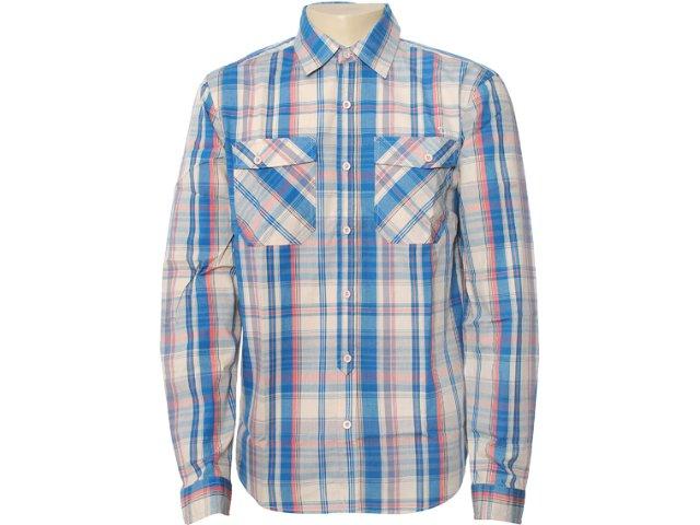 Camisa Masculina Dzarm Zl6a 1asi Xadrez Bege/azul