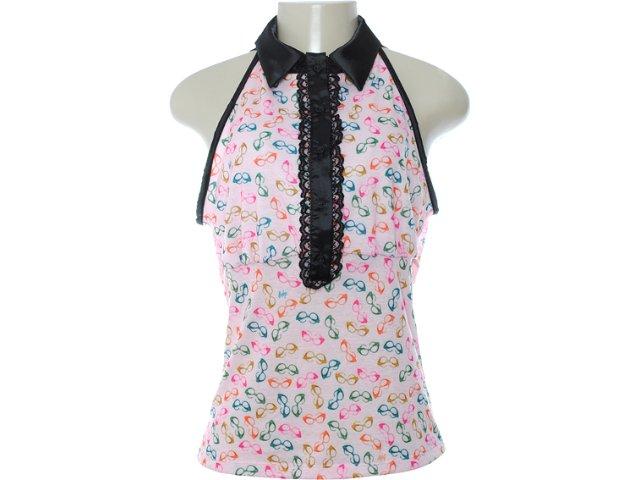 Blusa Feminina Dopping 015652531 Estampada Rosa