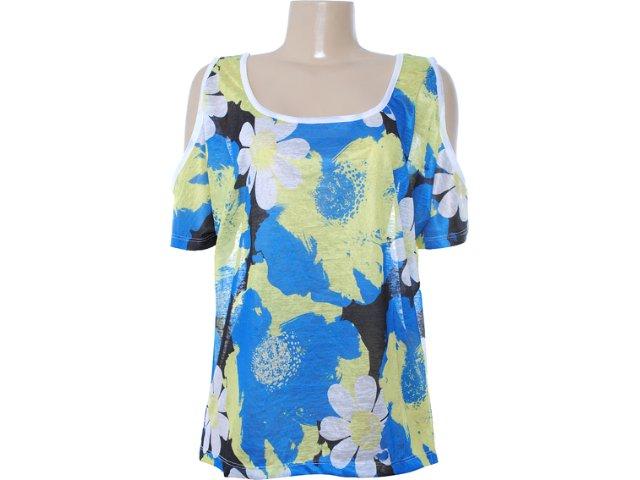 Blusa Feminina Dopping 015652521 Floral Azul/verde