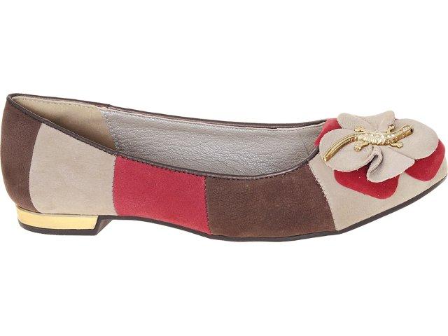 Sapatilha Feminina Dakota 4454 Trigo/choc/vermelho