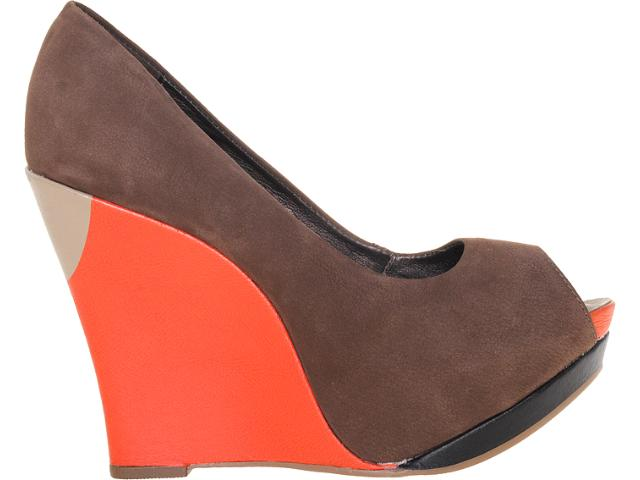 Peep Toe Feminino Dakota 4521 Chocolate/pitanga/pto