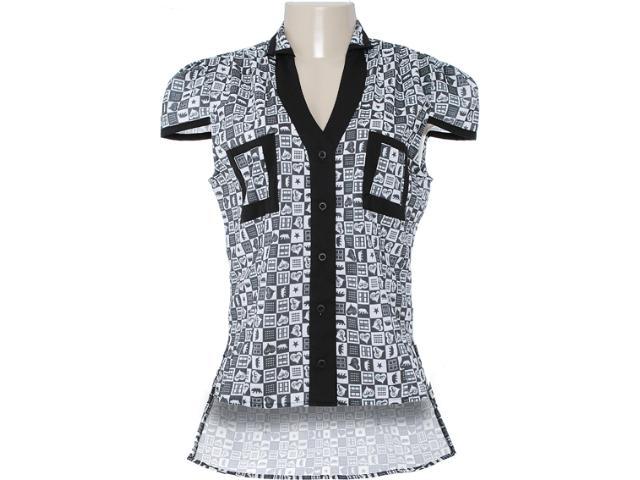 Camiseta Feminina Dopping 011802507 Estampado Preto