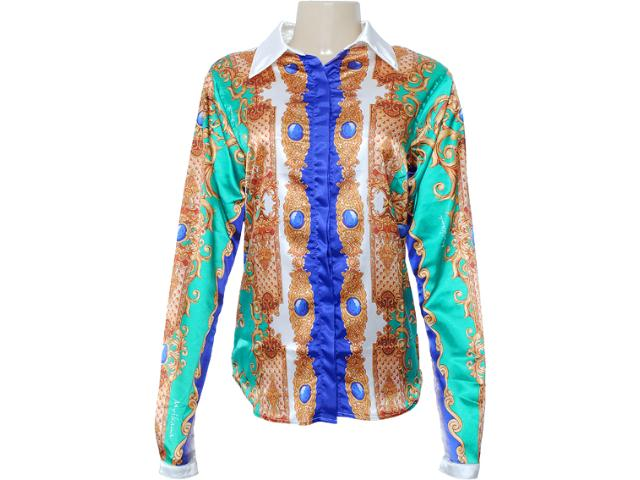 Camisa Feminina Moikana 7163 Verde Estampado