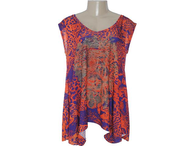 Blusa Feminina Margo 1399 Laranja/roxo