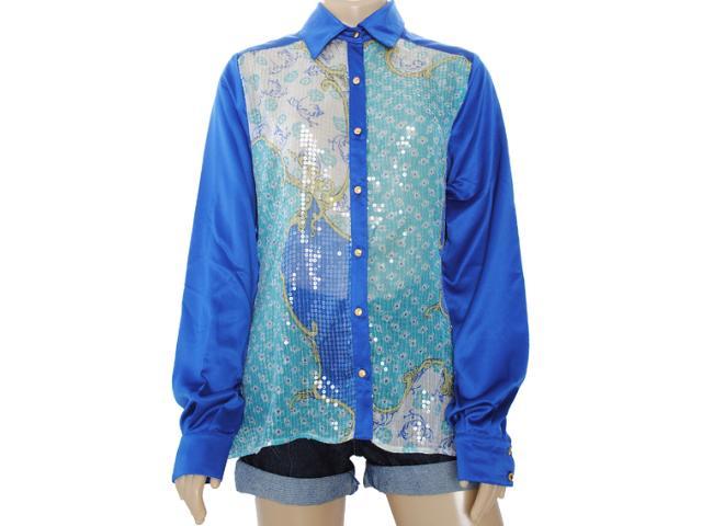 Camisa Feminina Moikana 8165 Azul Bic