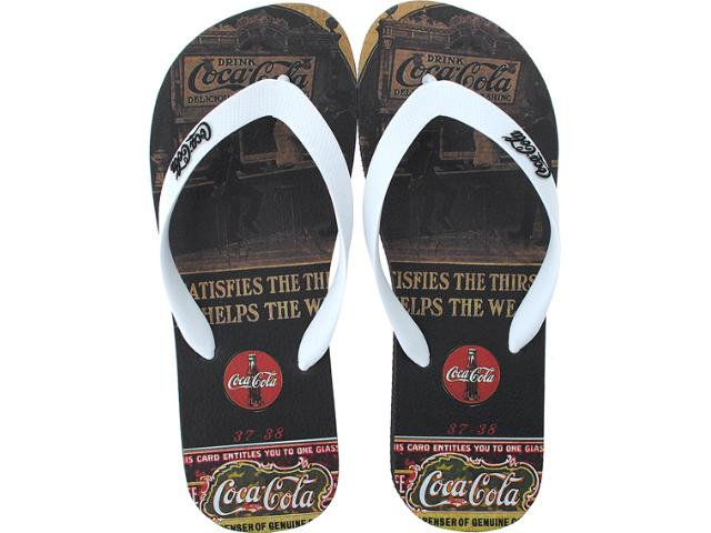 Chinelo Masculino Coca-cola Shoes Cc0254 Preto/branco