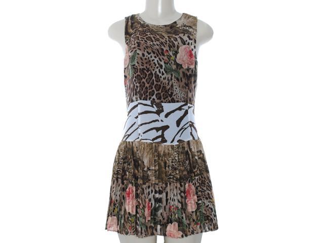 Vestido Feminino Moikana 8054 Preto Estampado