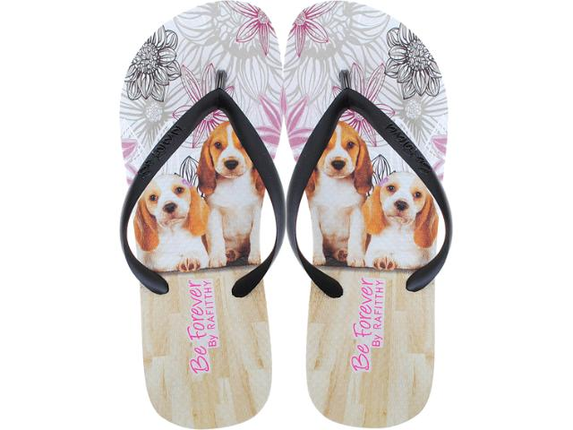 Chinelo Feminino Rafitthy 11.31701 Retrô Beagle Off Preto