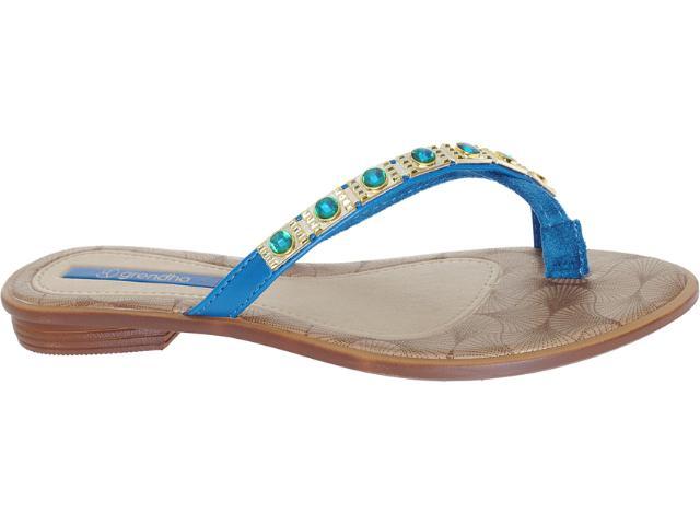 Tamanco Feminino Grendene Grendha 16585 Marrom/azul/dourado