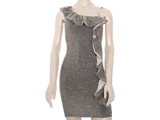 Vestido Feminino Lado Avesso 81521 Preto/ouro