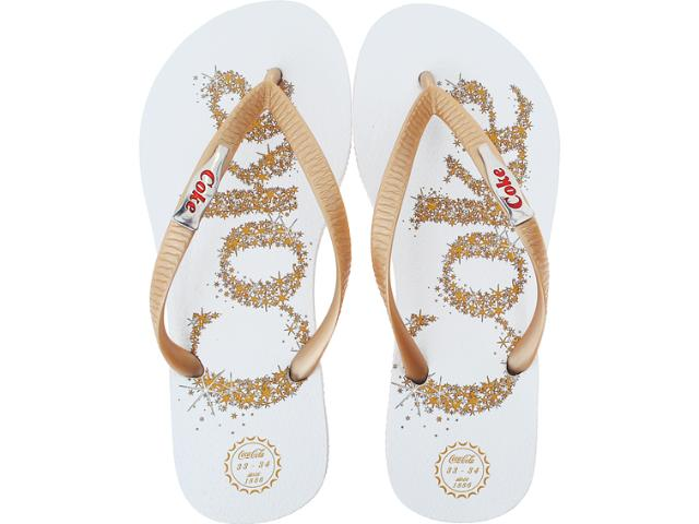 Chinelo Feminino Coca-cola Shoes Cc0199 Branco/ouro/metal