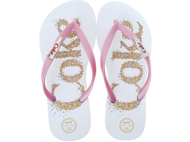 Chinelo Feminino Coca-cola Shoes Cc0199 Branco/rosa/metal