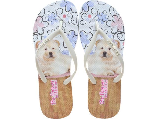 Chinelo Feminino Rafitthy 11.31701 Chow Chow Flowers Off White