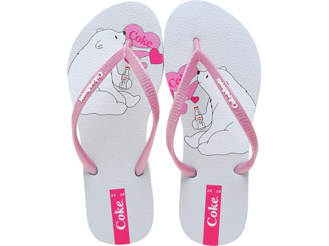 Chinelo Feminino Coca-cola Shoes Cc0192 Branco/rosa