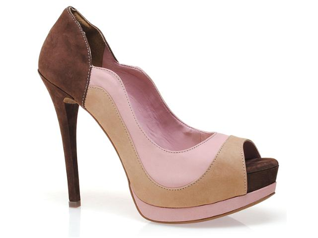 Peep Toe Feminino Via Marte 12-3101 Rosa/nat/chocolate