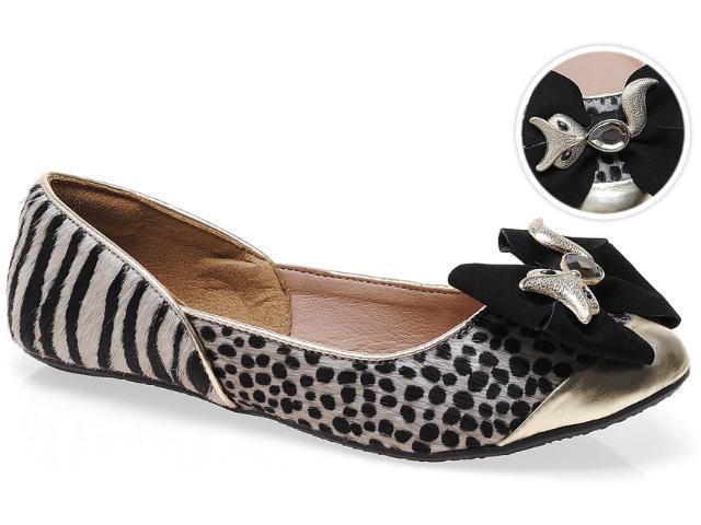Sapatilha Feminina Tanara 4122 Champagne/guepardo/zebra Preto