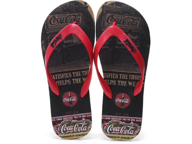 Chinelo Masculino Coca-cola Shoes Cc0254 Preto/vermelho