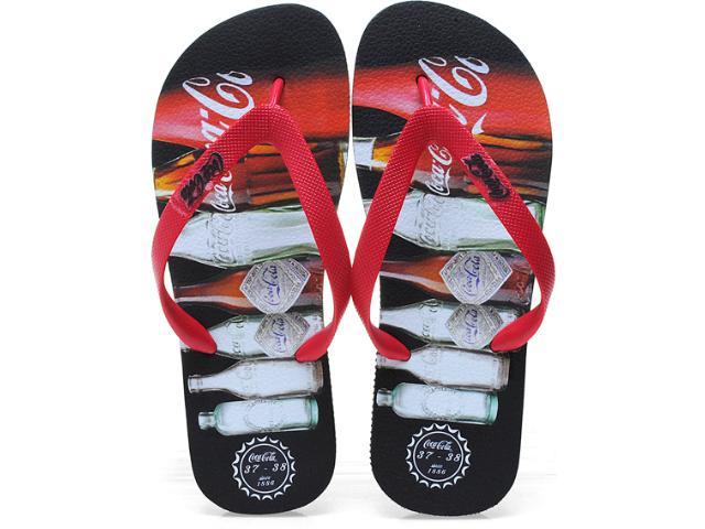 Chinelo Masculino Coca-cola Shoes Cces0189 Preto/vermelho