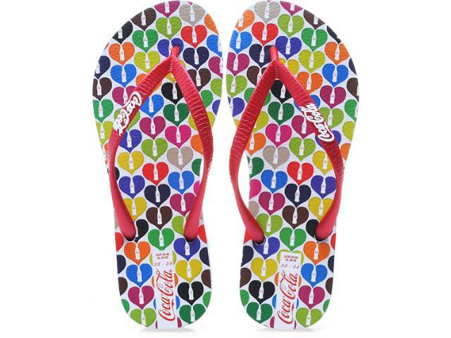 Chinelo Feminino Coca-cola Shoes Cc0181 Branco/vermelho